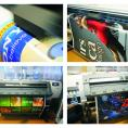 large-format prints, graphics on vehicles, light advertising, light boxes, signs, pylons,
